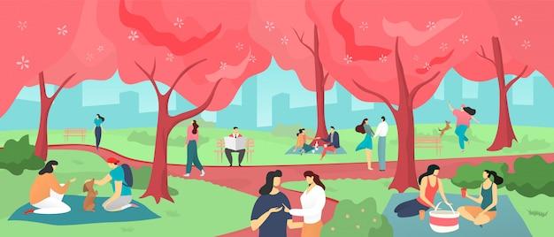 Festiwal hanami sakura, ludzie oglądający wiśniowe kwiaty w wiośnie japonii, hanami piknik kreskówka ilustracja.