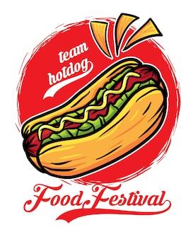 Festiwal jedzenia kanapek z hot dogami
