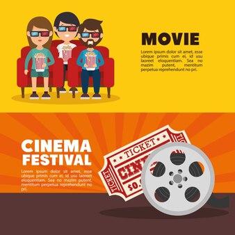 Festiwal kina filmowego ludzie bilet bilet