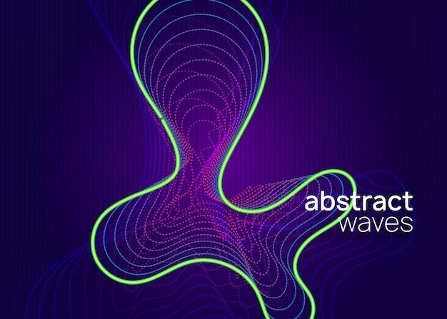 Festiwal muzyczny. futurystyczny układ zaproszenia na pokaz. dynamiczny płynny kształt i linia. ulotka neonowa z festiwalem muzycznym.