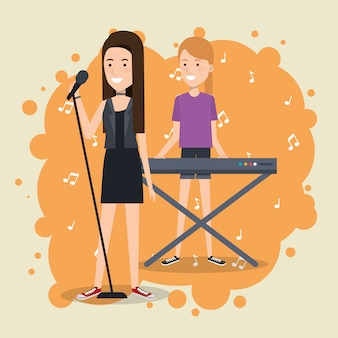 Festiwal muzyczny na żywo z kobietami grającymi na pianinie i śpiewającymi