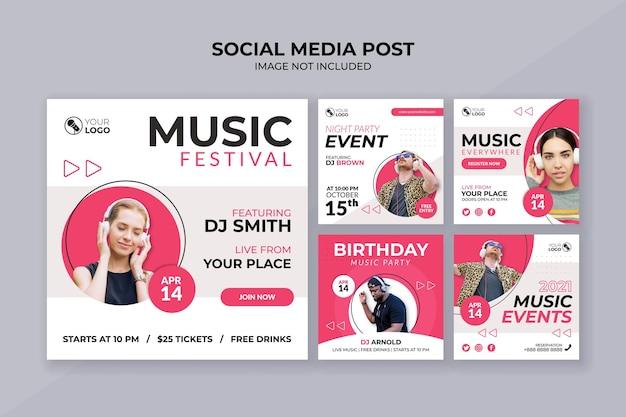 Festiwal muzyczny szablon postu na instagramie w mediach społecznościowych