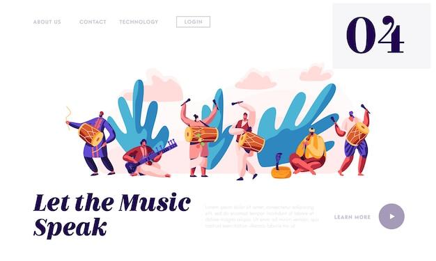 Festiwal muzyczny w indiach landing page. muzyk grający na instrumencie muzycznym dhol, bęben, flet i sitar na krajowej ceremonii instrumentalnej w azji. strona internetowa lub strona internetowa. ilustracja wektorowa płaski kreskówka