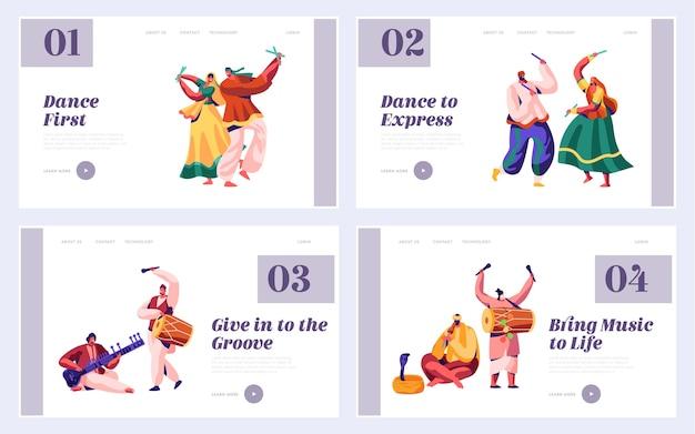 Festiwal muzyczny w indiach zestaw stron docelowych. muzyk grający na instrumencie muzycznym dhol, bęben, flet i gitara na stronie internetowej lub stronie internetowej national instrumental ceremony asia. ilustracja wektorowa płaski kreskówka