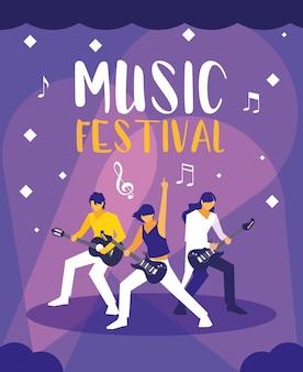 Festiwal muzyczny z ludźmi grającymi na gitarze elektrycznej