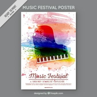 Festiwal muzyki akwarela plakat z fortepianem