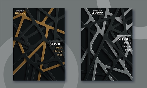 Festiwal muzyki elektronicznej minimalny projekt plakatu