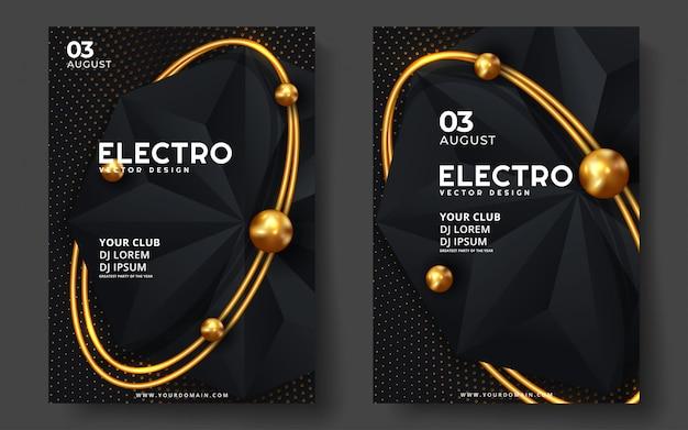 Festiwal muzyki elektronicznej. nowoczesny projekt szablonu plakatu lub ulotki.