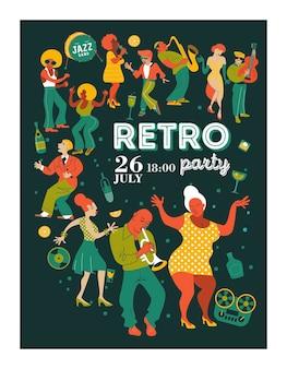 Festiwal muzyki plakatowej, impreza retro w stylu lat 70-tych, 80-tych. duży zestaw postaci, muzyków, tancerzy i śpiewaków. ilustracja wektorowa.