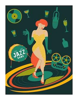 Festiwal muzyki plakatowej, impreza retro w stylu lat 70-tych, 80-tych. ilustracja wektorowa. piękna dziewczyna taniec.