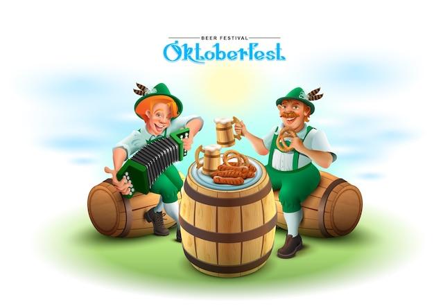 Festiwal piwa oktoberfest. dwóch niemców siedzi na drewnianej beczce i gra na akordeonie. ilustracja kreskówka
