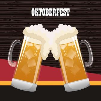Festiwal piwa oktoberfest na białym tle