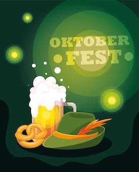 Festiwal piwa oktoberfest z kubkiem i pianką