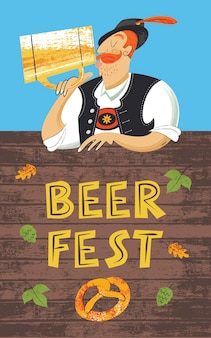 Festiwal piwa plakat oktoberfest. niemiec w tyrolskim kapeluszu pijący piwo z dużego kubka. ręcznie rysowane ilustracji wektorowych.