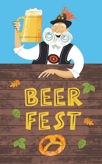 Festiwal piwa plakat oktoberfest. starszy mężczyzna z dużym wąsem w tyrolskim kapeluszu z dużym kuflem piwa. ręcznie rysowane ilustracji wektorowych.
