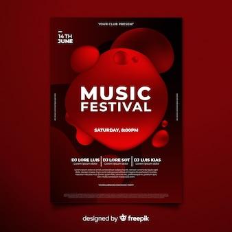 Festiwal plakatu szablon z efektem płynnym