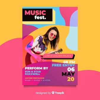 Festiwal plakatu szablon ze zdjęciem