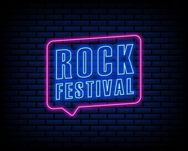 Festiwal rockowy neon znak