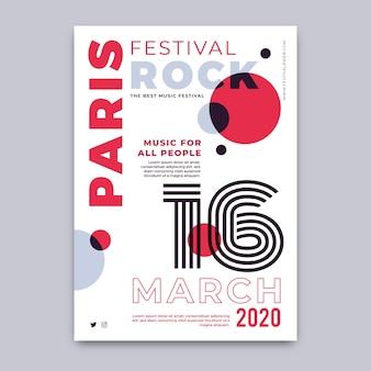 Festiwal rockowy w paryżu plakat szablon