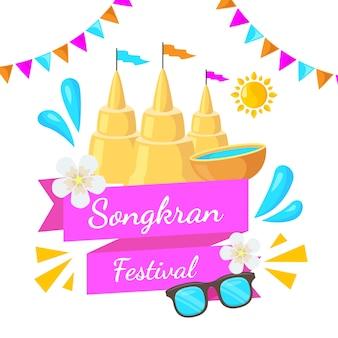 Festiwal songkran w płaskiej konstrukcji