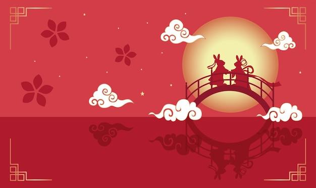 Festiwal tanabata lub festiwal qixi. ilustracja wektorowa uroczych królików symbolizujących doroczne spotkanie pasterza i tkacza. chiński dzień walentynek i podwójny siódmy festiwal.
