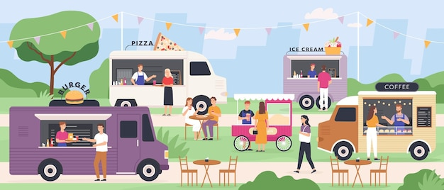 Festiwal ulicznego jedzenia. ludzie jedzą na letnich targach ciężarówek na świeżym powietrzu z fast foodami, furgonetką z pizzą i lodami, wózkiem z popcornem. płaski wektor wydarzenie w parku. ilustracja jedzenie ciężarówki, festiwal targu van