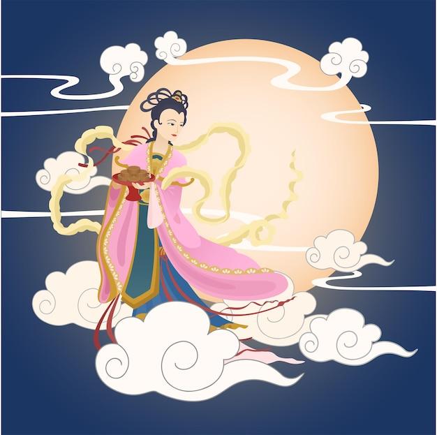 Festiwal w połowie jesieni bogini księżyca trzymająca ciasto księżycowe z dużym księżycowym tłem