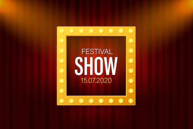 Festiwalowy plakat plakat z reflektorami. koncert, impreza, teatr, kino