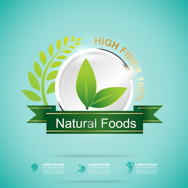 Fibre in foods and vitamin concept label