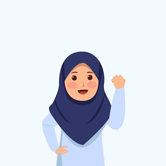 Fight gesture expression little hijab girl cute cartoon
