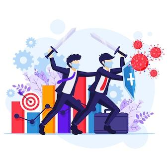 Fight the virus concept, dwóch biznesmenów używających broni do walki z komórkami koronawirusa, aby chronić swoją ilustrację biznesową