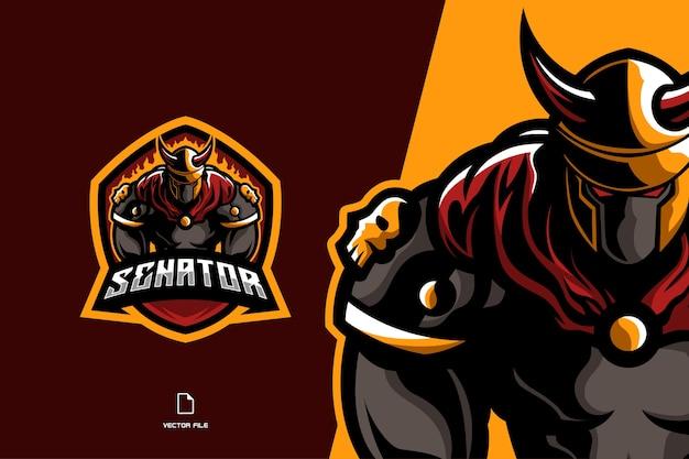 Fighter spartan viking maskotka logo gra sport tempalte ilustracja