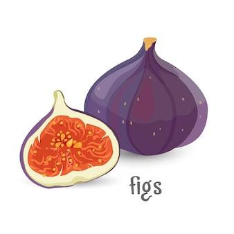 Figi całe i pokrojone zdrowe organiczne owoce z nasionami, używane zarówno jako żywność, jak iw medycynie tradycyjnej, na białym, dojrzałym egzotycznym deserze wegetariańskim