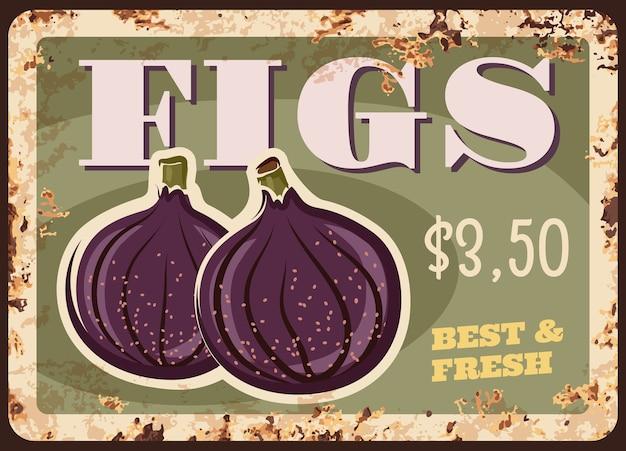 Figi owoce zardzewiały metalowy talerz z ceną