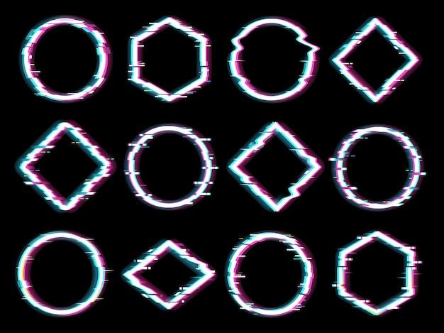 Figury geometryczne z efektem glitchu.