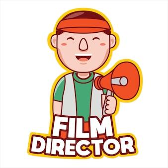 Fil director zawód maskotka wektor logo w stylu kreskówki