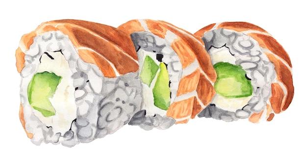 Filadelfijskie rolki akwarelowe z łososiem