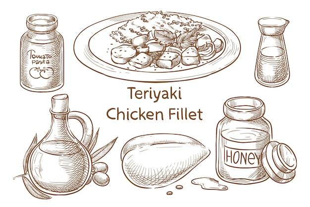 Filet z kurczaka teriyaki. japońskie jedzenie. składniki. szkic wektor