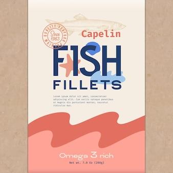 Filety rybne streszczenie projektu opakowania lub etykiety ryb