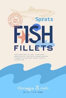 Filety rybne streszczenie wektor wzór opakowania lub etykieta nowoczesna typografia ręcznie narysowana sylwetka szprota...