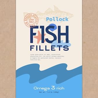 Filety rybne streszczenie wektor wzór opakowania lub etykieta nowoczesna typografia ręcznie rysowane dziki mintaj sil...