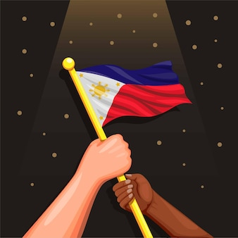 Filipińska flaga na ludziach obchodzi 12 czerwca dzień niepodległości filipińskiej koncepcji w kreskówce