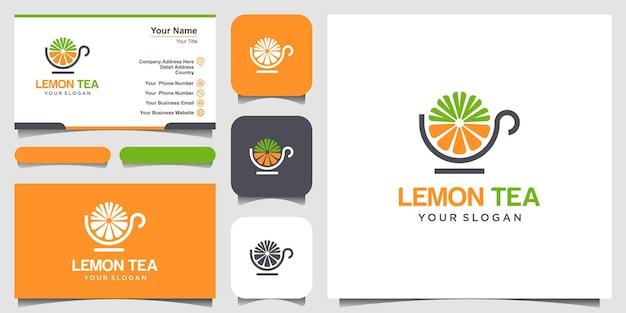Filiżanka cytryny i herbaty streszczenie wektor logo i projekt wizytówki