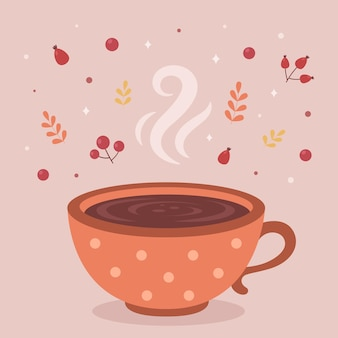 Filiżanka gorącej kawy jesień gorący napój witaj jesień