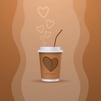 Filiżanka gorącej kawy miłości. szczęśliwych walentynek.