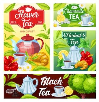 Filiżanka herbaty czarny, zielony, banery ziołowe napoje