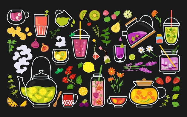 Filiżanka herbaty i koktajli kreskówka zestaw. kubek na herbatę, imbryk i zioła, owoce, składniki napojów.