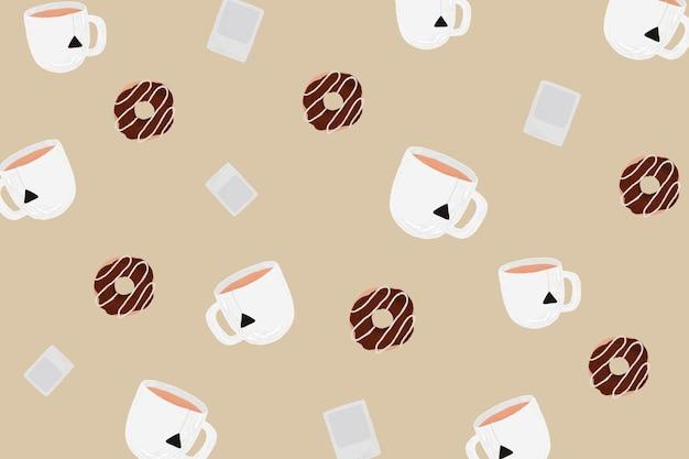 Filiżanka herbaty wzorzyste tło wektor z czekoladowym pączkiem ładny ręcznie rysowane stylu