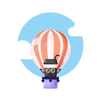 Filiżanka kawy balon na gorące powietrze urocza maskotka postaci