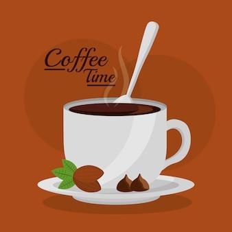 Filiżanka kawy gorący napój z łyżeczką i orzechami